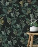 Tapeta w egzotyczne kwiaty na czarnym tle