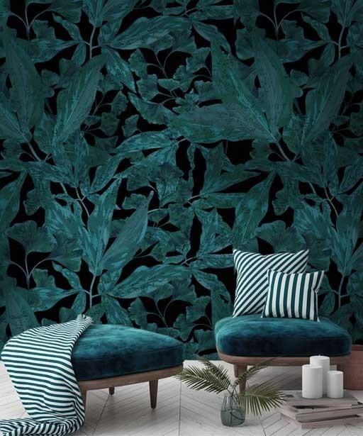 Tapeta roślinna turkusowa
