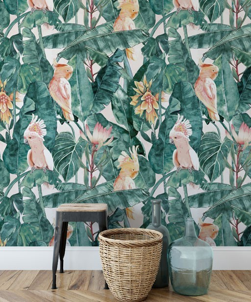 Wallpaper Tropical leaves and parrots