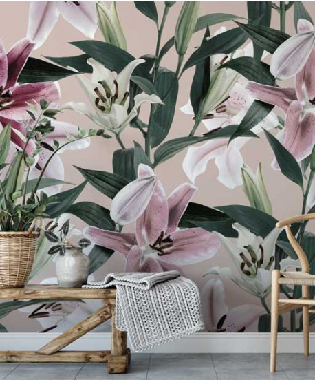 Wallpaper with big floral pattern, pink