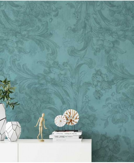 Wallpaper with classic, floral patern, blue