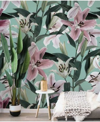Wallpaper with big floral...
