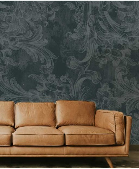 Wallpaper with classic, floral patern, grey