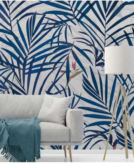Wallpaper palm leaves, classic blue