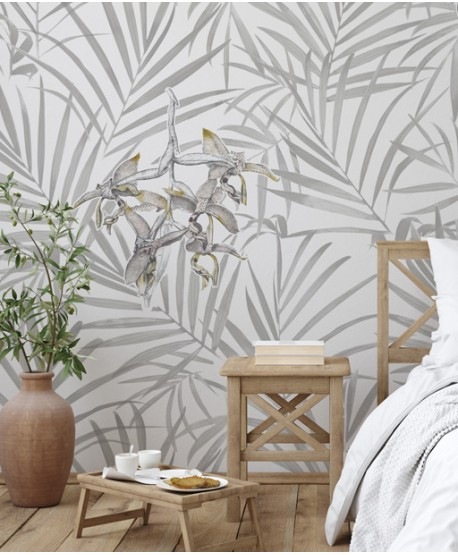 Palm leaves & orchid wallpaper