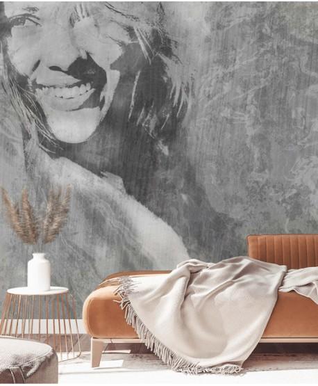 Fototapeta z twarzą kobiety (szara)