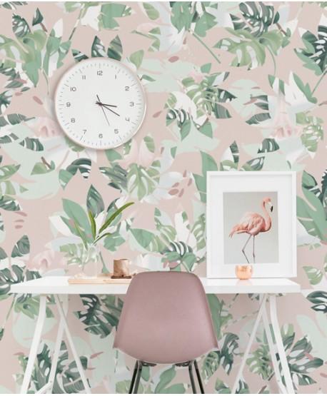 Wallpaper pastel leaves